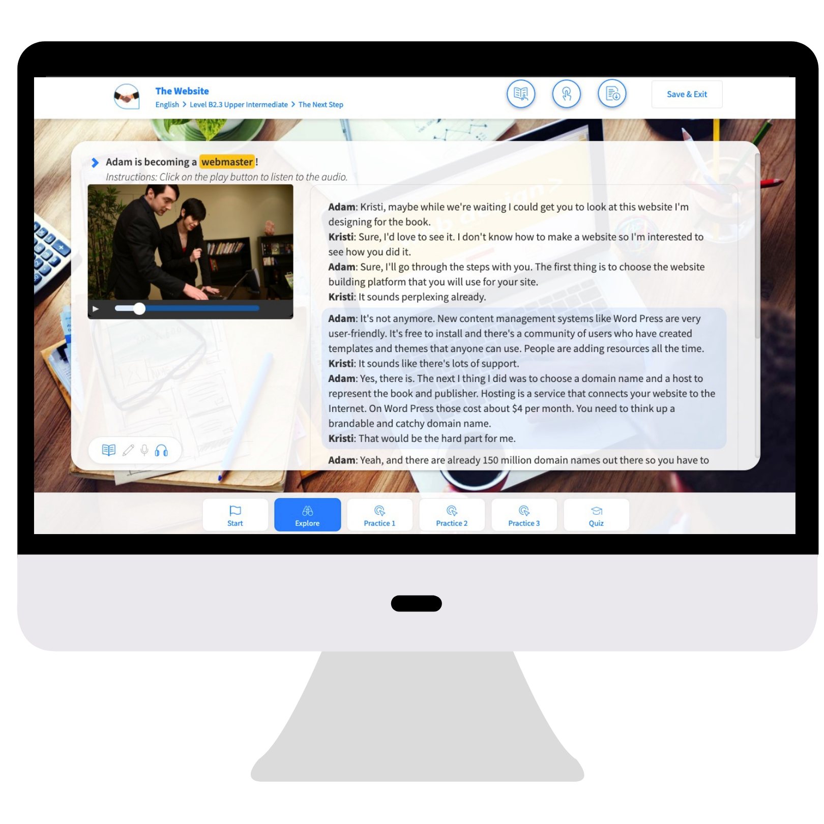Monitor with Business Course