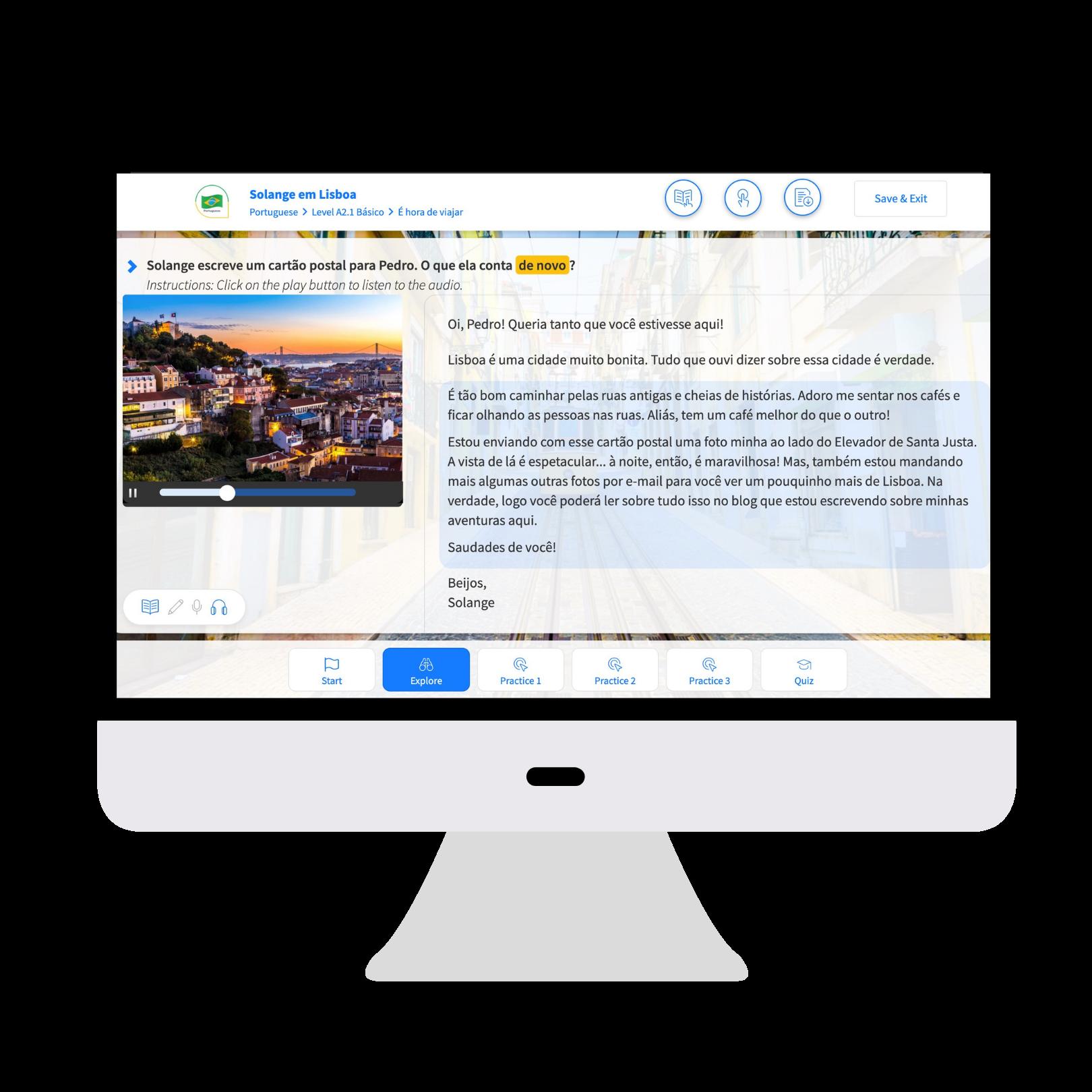 Portuguese course on a screen