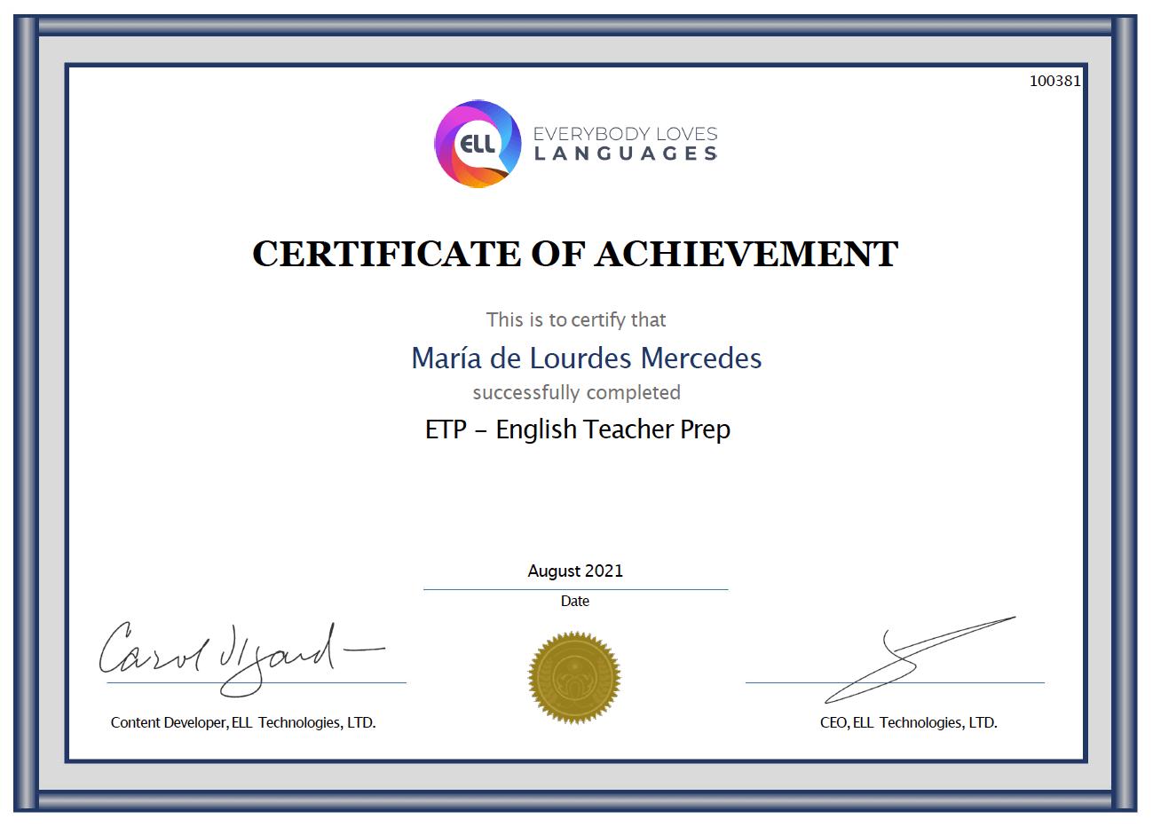 ETP Certificate